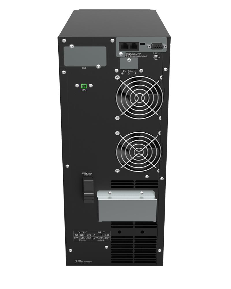 UPS Borri Leonardo RT 6 kVA 4U vista retro